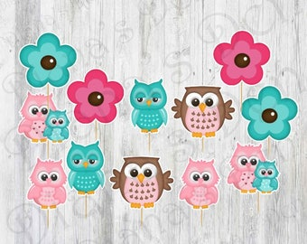 Baby Shower cupcake Toppers/Baby Shower Toppers/Girl Party/Boy Party/First Birthday/Baby Shower Party