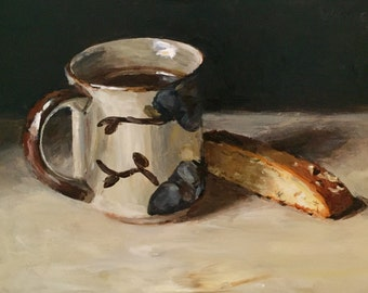 "Original Acrylic Still Life Painting 6x8 ""Coffee with Biscotti"""
