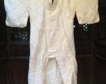 White silk Japanese kimono