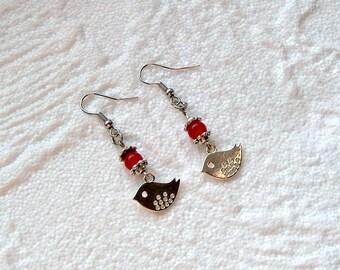 Earrings silver bird + red jade