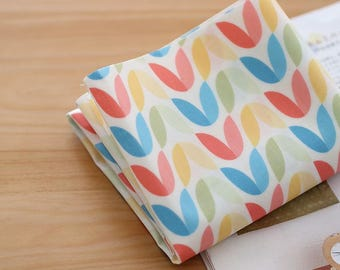 Laminated Scandinavian Style Pastel Leaves Pattern Cotton Fabric by Yard