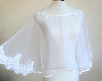 Cape clear to white lace wedding dress