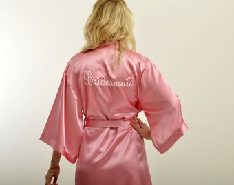Custom satin pink robe! Personalized Bridesmaid robe. Embroidered Satin robe.Kimono robe!  Bachelorette party robe. Bridesmaid gift
