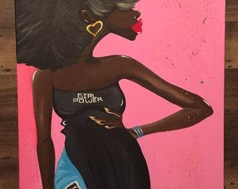 "Black Art ""Girl Power"" 24x36 in. Original Painting"