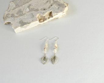 Opal Earrings, Opal Chip Earrings with Silver Leaf Charm, October Birthday, Opal Drop Earrings