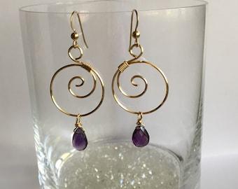 Gold & Amethyst Earrings: Briolette Dangles
