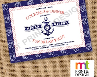 Wedding Shower Rehearsal Dinner Nautical Yacht Boat Invitations PRINTED with envelopes