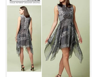 Vogue Pattern V1547 Misses' Lined Dress with Handkerchief-Style Overlay