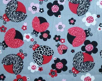 Leopard Ladybug Gray/Red Cotton Fabric (1 yard 21 inches)