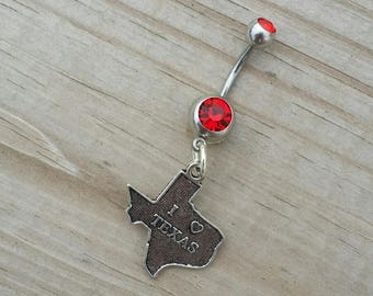 Texas Belly Button Ring,State of Texas Navel Ring, Dangle Belly Ring, Body Piercing, Texas Charm, Body Jewelry, 14g Barbell.