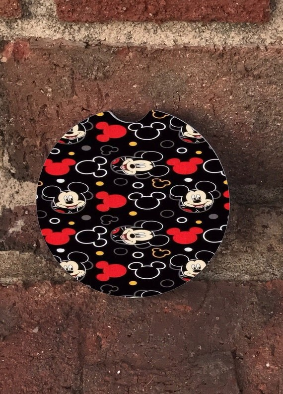 Mickey Mouse Auto Cup Holder Coasters Set Of 2 Absorbent