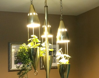Amazing Tension Pole Lamp with hanging bullet planter lights