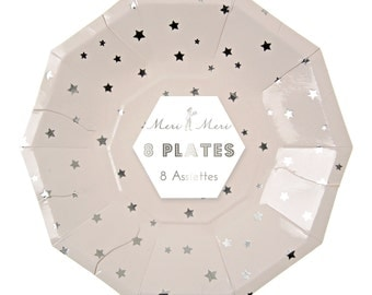 Toot Sweet Silver Stars Party Plate