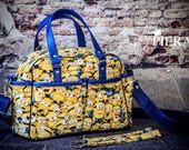 yellow monsters, despicable, diaper bag, boy, girl baby, ready to ship