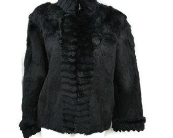 Pierre Cardin Rabbit Fur Coat by Madomoiselle Furs - Vintage Jet Black Short Fur Jacket