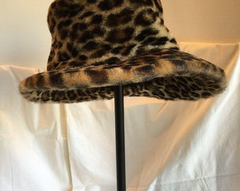 Vintage 60's Fuux Fur Leopard Hat  With Asymetrical Brim-Back to Front