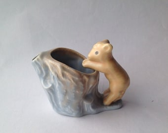 Vintage Figurine / Creamer Lamb and Tree Stump. Hollow Log Jug Like Hornsea, Poole, Wade. Unmarked