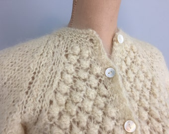 Wool Mohair Sweater Cream Cardigan Fuzzy Fluffy Sweater 50s 60s Vintage Cardigans Hand Knit Sweater Small Medium Womens Vintage Clothing