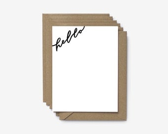 Set of 6 Hello Hand Lettered Screen Printed Note Cards