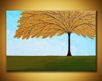 Original tree painting 24x36 Large Yellow tree Painting Textured Impasto landscape Golden yellow tree fall Contemporary art 3d wall art