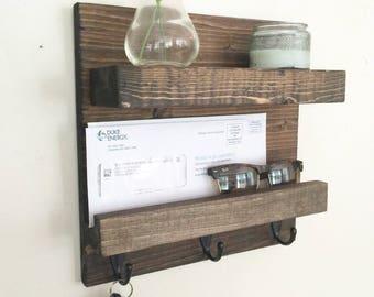 Mail shelf, key hook shelf, Entryway floating shelf, rustic shelf, mail organizer