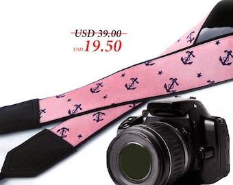 Anchors and Stars camera strap. Pink DSLR / SLR Camera Strap. Photo accessories. Durable, light weight and well padded camera strap.