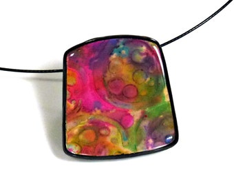 """Polymer Clay Pendant, Necklace, Handcrafted, OOAK, """"Dreamscape"""""""