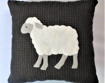 Wool applique pillow - Sheep