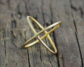 1.0 mm vermeil gold simple criss cross x ring
