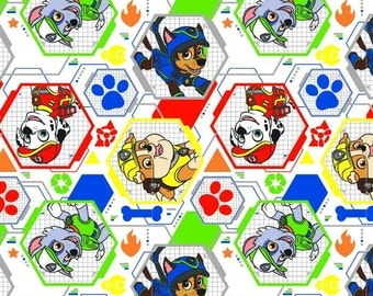 White  Paw Patrol characters,  Cotton Woven Fabric