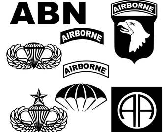 Airborne! Paratrooper Vinyl Decals/military/82nd Airborne/101st/Jumpwings/ABN/Choose size& color /Vinyl Single Color Decal/Parachute decal