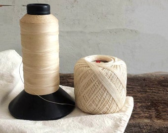 Vintage Spools of Thread, LOT of 2. One Large, Old Black Plastic Spool, One Round Ball of Old Thread. Vintage Textile