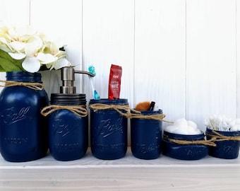 6 pc mason jar bathroom set