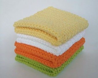 "Crochet Dishcloths - Crochet Washcloths - Set of 4 - 9"" x 9"" Crochet Dishcloth - Handmade Cotton Washcloth"
