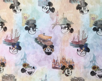 Mouse at the Park! cotton lycra knit fabric, custom painted pattern