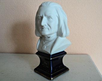 Limoges Liszt Statue Bust of Franz Liszt Classical Music Composer and Performer Cobalt Blue Pedestal Base Gold Trim Grand Piano Decor