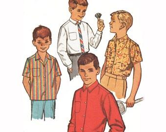 Boys Camp Shirt Pattern Button Down Shirt Pattern Dress Shirt Sewing Pattern Vintage 1960s Simplicity 4964 Size 6 Chest 24