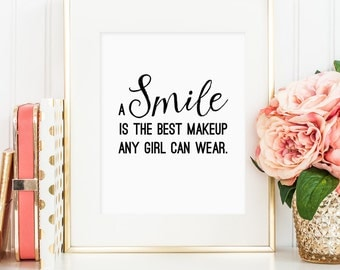Marilyn Monroe quote,A smile is the best makeup any girl can wear, Monroe wall art decor, bedroom decor, Marilyn Monroe art, Makeup quotes