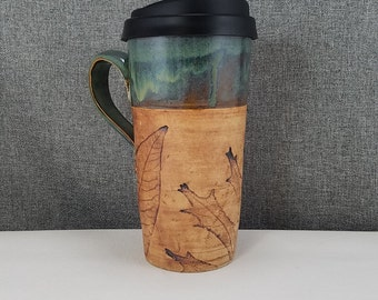 Made to Order(Up to 3 weeks)*Ceramic Travel mug / Commuter mug with silicone lid - Olive Blue / Leafs