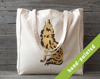wolf tote bag, Cotton tote bag, Eco bag, natural color tote bag, friendly eco bag,  wolf, tote bag, wolf bag, wolf eco bag
