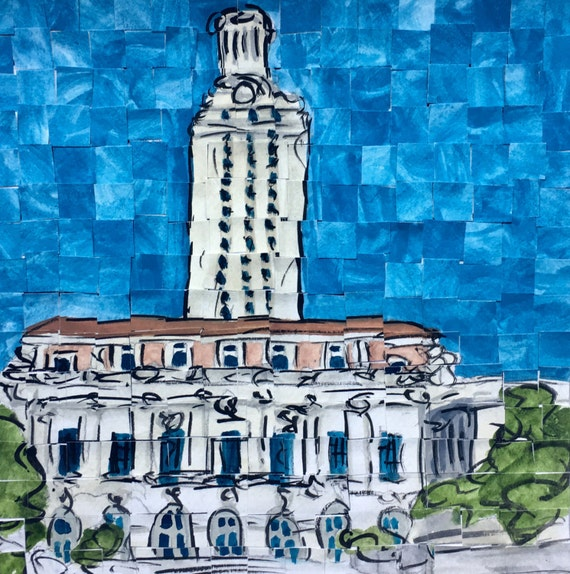 "University of Texas Bell Tower Architectural Art: 8""x8"" Original Painting"