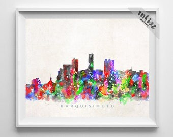 Barquisimeto Skyline Print, Venezuela Art, Barquisimeto Poster, Venezuela Cityscape, Watercolor Painting, Wall Decor, Christmas Gift