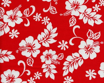 Hawaiian Hibiscus Flowers Cotton Fabric Trans-Pacific TKJ-02-206 Red, By the Yard