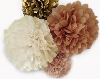 Blush, Ivory, Khaki/Kraft, and Antique Gold Tissue Paper Poms | 4 Piece Set | Weddings | Bridal Shower | Decorations | Birthday | Nursery