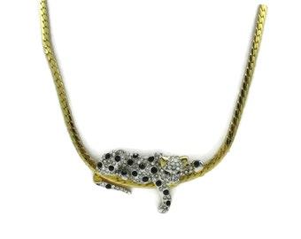 Gold Necklace Black Rhinestone Leopard Cheetah Jaguar Pendant 18 Inches Long  Modernist Vintage Costume Jewelry Choker Designer Gift Ideas