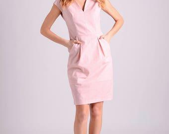 Cotton elegant midi shift dress | pink-salmon