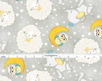 Sheep, Elephants, Moon and Owls, Baby Fabric, Wilmington Print, To the Moon and Back, 82458 915, Gray & Yellow Baby Quilt Fabric, Cotton