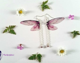 Magical Purple Fairy Wing Earrings with Chain and Bead