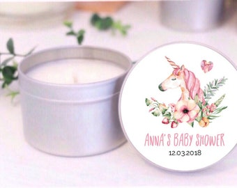 Unicorn Personalised baby shower favours / bomboniere / Place Card Soy candle tins by Mahina. Kids birthday girls
