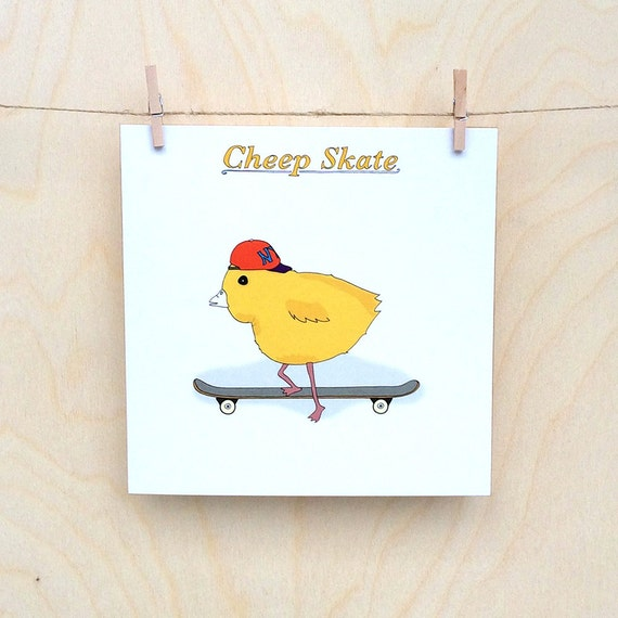 Funny card, funny chick card, cheep skate